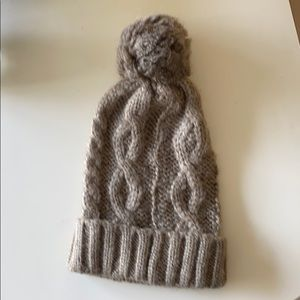 Taupe cable knit Pom Pom hat new